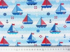 Jersey Segelboote & maritime Muster, rot dunkelblau hellblau