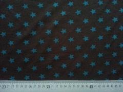 Jersey Sterne 1,4 cm  - kohle (graubraun) / petrol