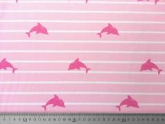 RESTSTÜCK 38 cm Jersey Streifen & Delfine, weiss/rosa