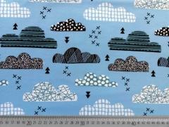 Jersey gemusterte Wolken - himmelblau