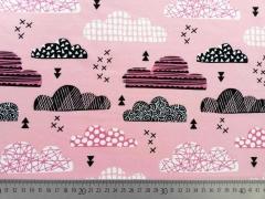 RESTSTÜCK 67 cm Jersey gemusterte Wolken - altrosa