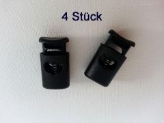 4 ovale Kordelstopper mit Feder, schwarz