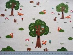 Leinenlook, Füchse & Bäume, natur