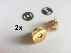 2 Magnetknöpfe rund 18mm für Taschen, goldfarben glänzend