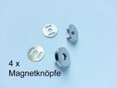4 Magnetknöpfe rund  18mm für Taschen, silberfarbig