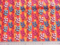 Baumwollstoff Streifen Blumen Hamburger Liebe, orange