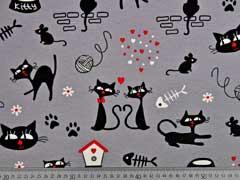 RESTSTÜCK 99 cm Dekostoff bedruckt Katzen, grau schwarz