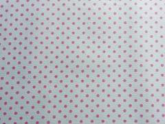 RESTSTÜCK 35 cm beschichtete Baumwolle Punkte 2mm, rosa auf weiß
