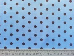RESTSTÜCK 28 cm Baumwollstoff Punkte 0,6 cm,  braun auf hellblau