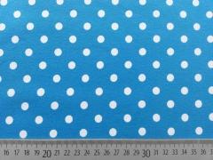 Jerseystoff Punkte 0,8 cm, weiss auf himmelblau