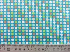 Punkte 0,7cm türkis mit hellgrün, beige, braun