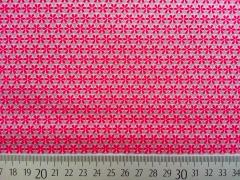Popelin Mini-Rädchen,  rot/rosa auf grau