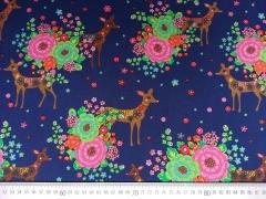 Baumwollstoff Rehe Blumen Stenzo Design, dunkelblau