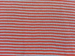 Ringelbündchen, Feinripp - orange/hellblau