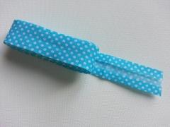 Gepunktetes Schrägband als 2m-Stück, weiß türkis