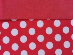 RESTSTÜCK 71 cm Softshell Punkte 2cm, weiss auf rot/rot