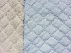RESTSTÜCK 66 cm Steppstoff Doubleface Sternchen - hellblau weiss