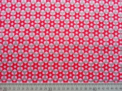 Popelin Sterne auf Sechseck,  rot/rosa auf grau
