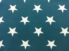 RESTSTÜCK 30 cm Jersey Vincente weisse Sterne 4,5 cm auf petrol