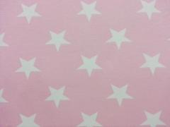 RESTSTÜCK 39 cm Jersey Vincente weisse Sterne 4,5 cm auf rosa