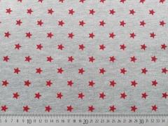 RESTSTÜCK 74 cm Sweat Sterne 1 cm, rot auf grau melange