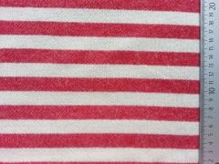 RESTSTÜCK 40 cm Sweatstoff French Terry Streifen 2cm, rot ecrue melange