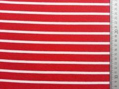 RESTSTÜCK 93 cm Italienischer Viskose Jersey Allegra Streifen, rot-weiß