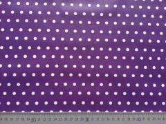 beschichtete Baumwolle Punkte 6mm, weiß auf dunkellila