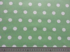 RESTSTÜCK 65 cm beschichteter Baumwollstoff Punkte 1,6cm, Weiß auf Pastellgrün