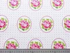 RESTSTÜCK 28 cm beschichtete Baumwolle Rosen Ornamente, weiss