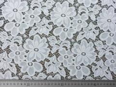 Spitzenstoff Blumen Meterware elastisch, weiss