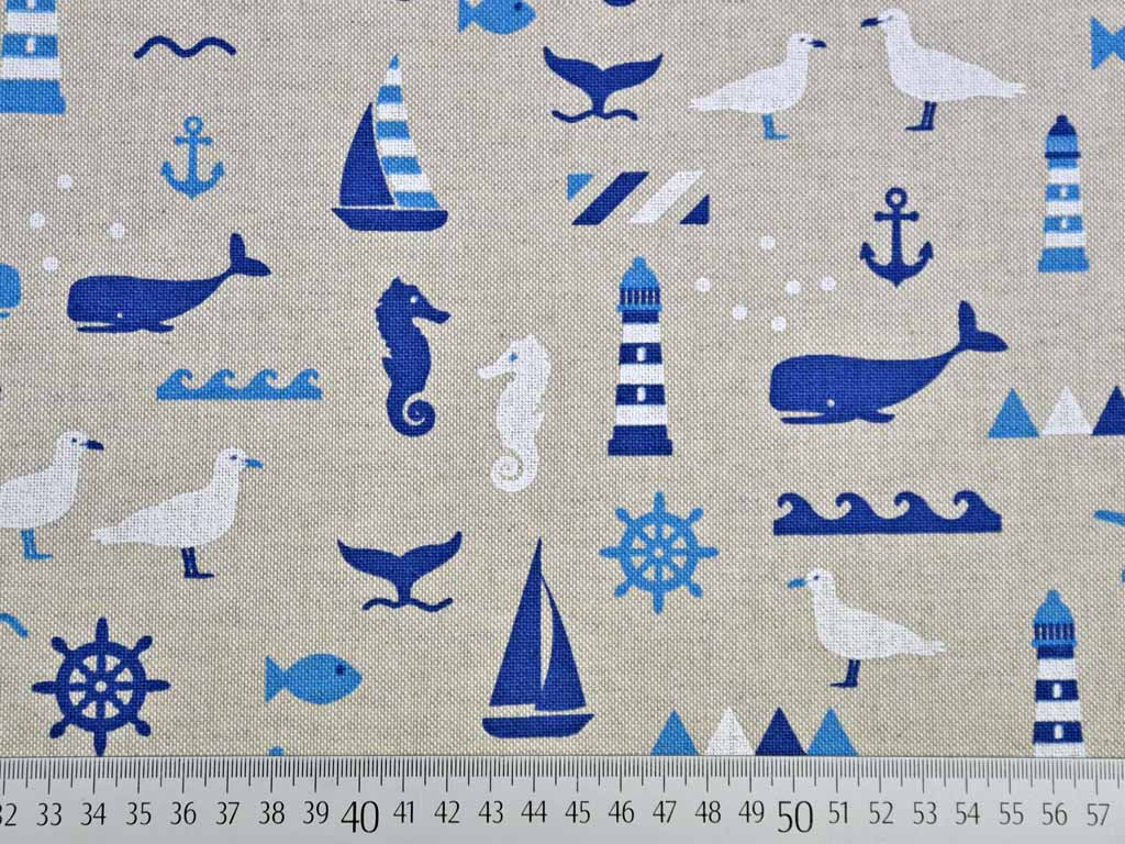 Maritime Bilder leinenlook maritime motive blau auf natur wunderland der stoffe
