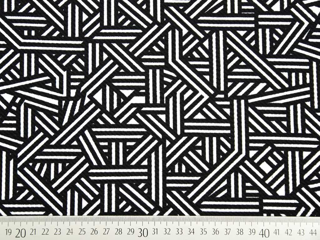 crepe jersey grafisches muster schwarz wei wunderland der stoffe weidenweg 5 40822. Black Bedroom Furniture Sets. Home Design Ideas