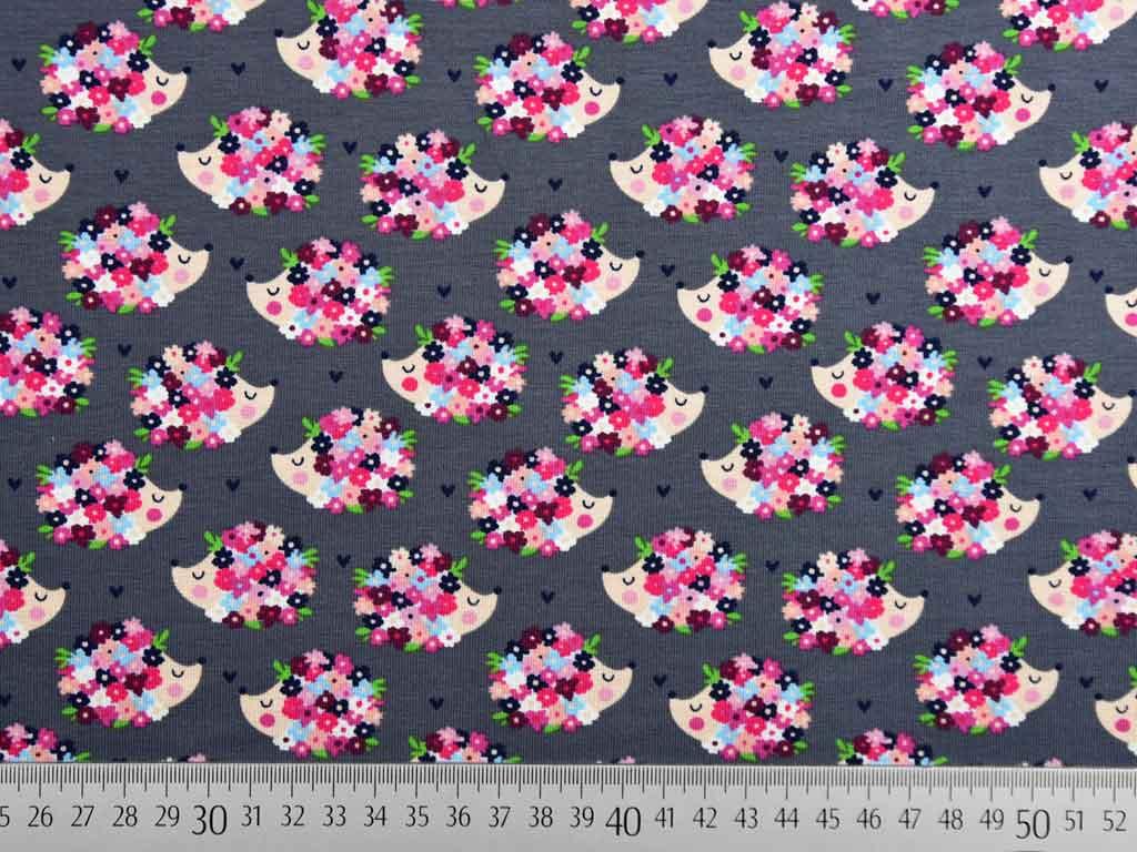 Reststücke Baumwolljersey  Blume auf grau 90 x 150