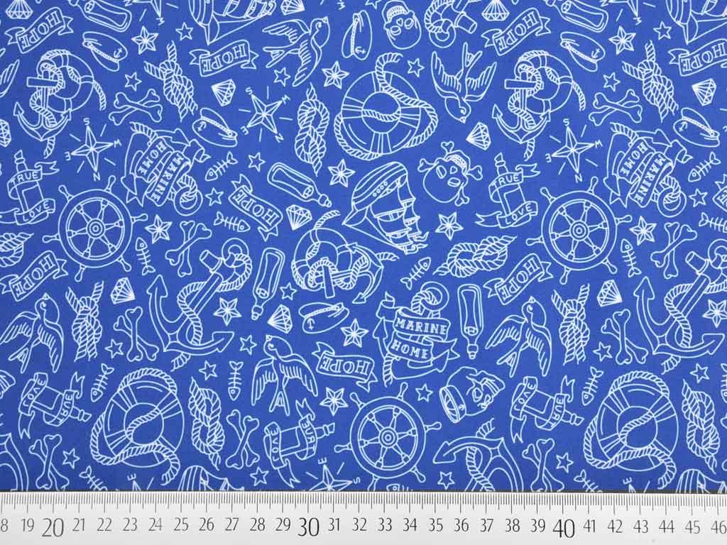 wasserabweisender stoff maritime motive blau wunderland der stoffe weidenweg 5 40822. Black Bedroom Furniture Sets. Home Design Ideas