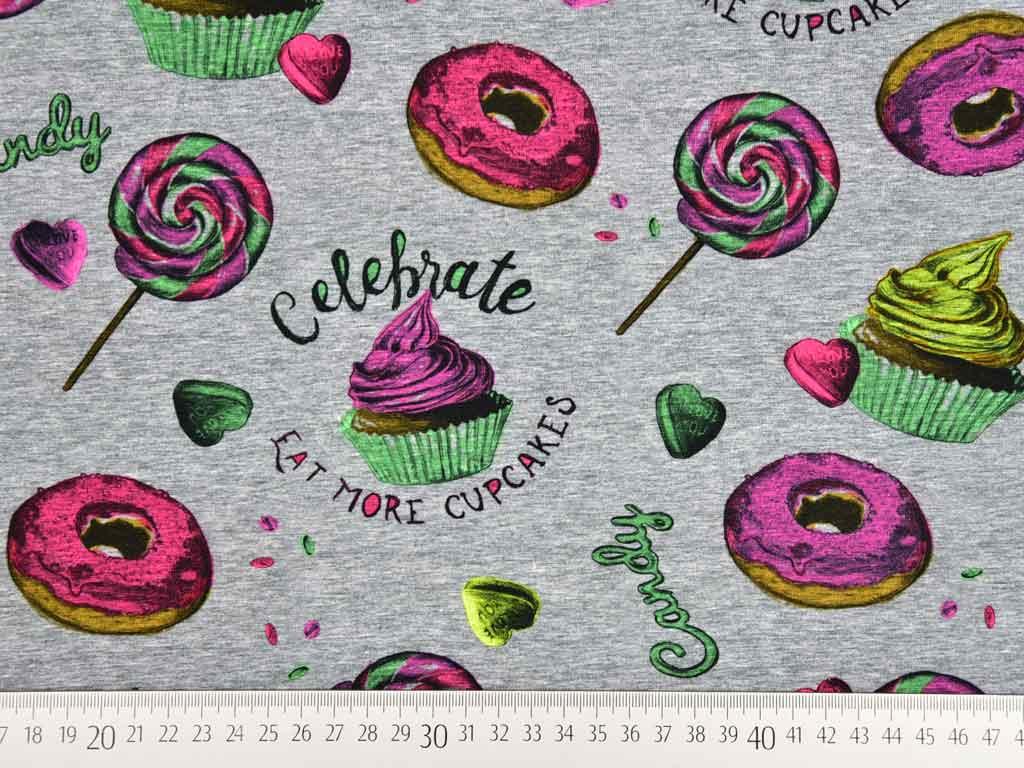Jersey Digitaldruck Donuts Cupcakes Grau Meliert Wunderland Der
