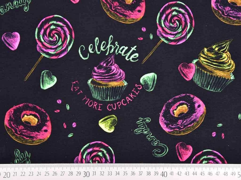 Jersey Digitaldruck Donuts Cupcakes Schwarz Wunderland Der Stoffe