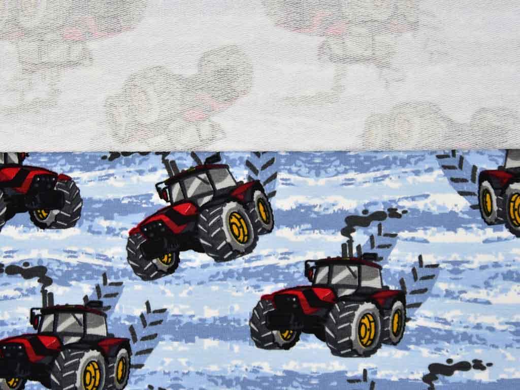 3cbcac868c French Terry Sweat Traktor, rot hellblau - Wunderland der Stoffe