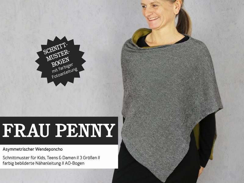 Frau Penny asymmetrischer Wendeponcho - Wunderland der Stoffe ...