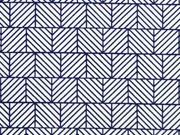 elastische Baumwolle grafisches Muster Quadrate, weiß dunkelblau
