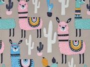 Softshell Jackenstoff Lamas Kaktus, rosa beige