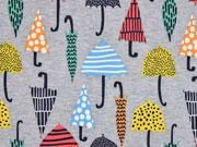 Softshell Jackenstoff Regenschirme, grau melange