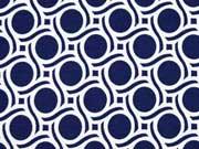 RESTSTÜCK 49 cm Viskose Jersey Punkte & Wellen, dunkelblau creme