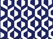 Viskose Jerseystoff grafisches Muster, dunkelblau creme