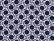 Viskose Punkte & Wellen, dunkelblau weiß