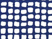 Viskosejersey Quadrate, dunkelblau weiß