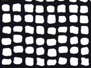 Viskosejersey Quadrate, schwarz weiß