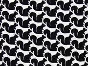 RESTSTÜCK 25 cm Viskose Eichhörnchen, schwarz weiß