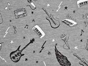 French Terry Lets make Music, grau melange