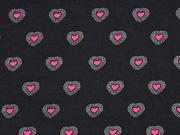 Jersey Herzen, schwarz